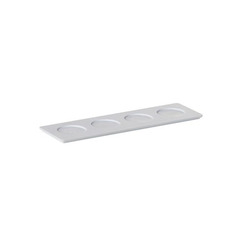 Evolution Tray 4 Compartments 24x7x0.6cm White Solid Surface