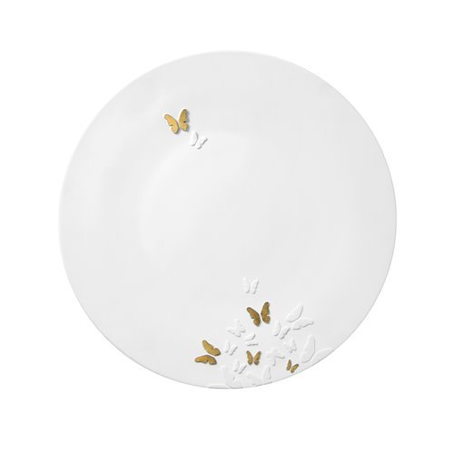 Charger Plate 32cm Butterfly Relief Mat Gold