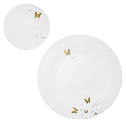 Assiette 16cm Butterfly Relief Or Mat