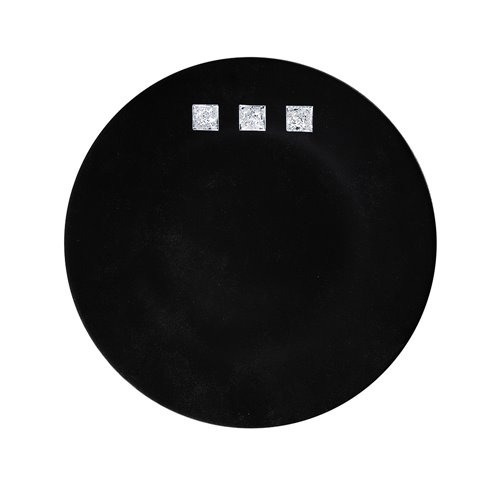 Assiette 32cm Decor Noir 3 Carres Craquele Platine Brillant