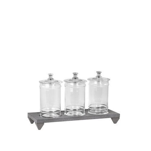 3 holes Evolution stand h.6cm Lava stone and Jar with lid