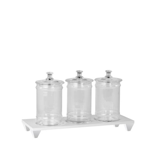 3 holes Evolution stand h.5,2cm White and Jar with lid