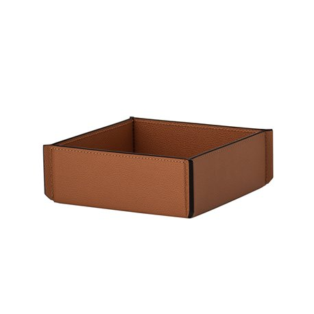 Camel Square leather basket