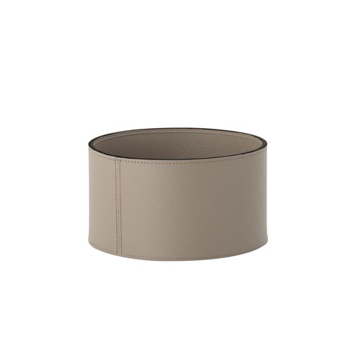 Corbeille cuir taupe ronde