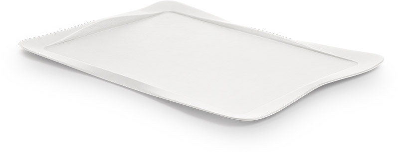 Tray covered with white leather