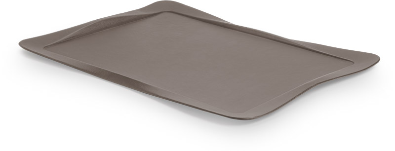 Tray covered with grege leather