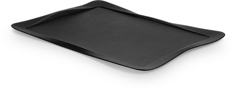 Tray covered with black leather